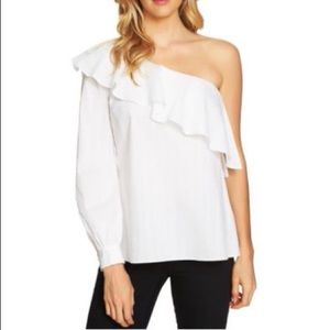 Cece One Shoulder Ruffle Swiss Dot Cotton Blouse M